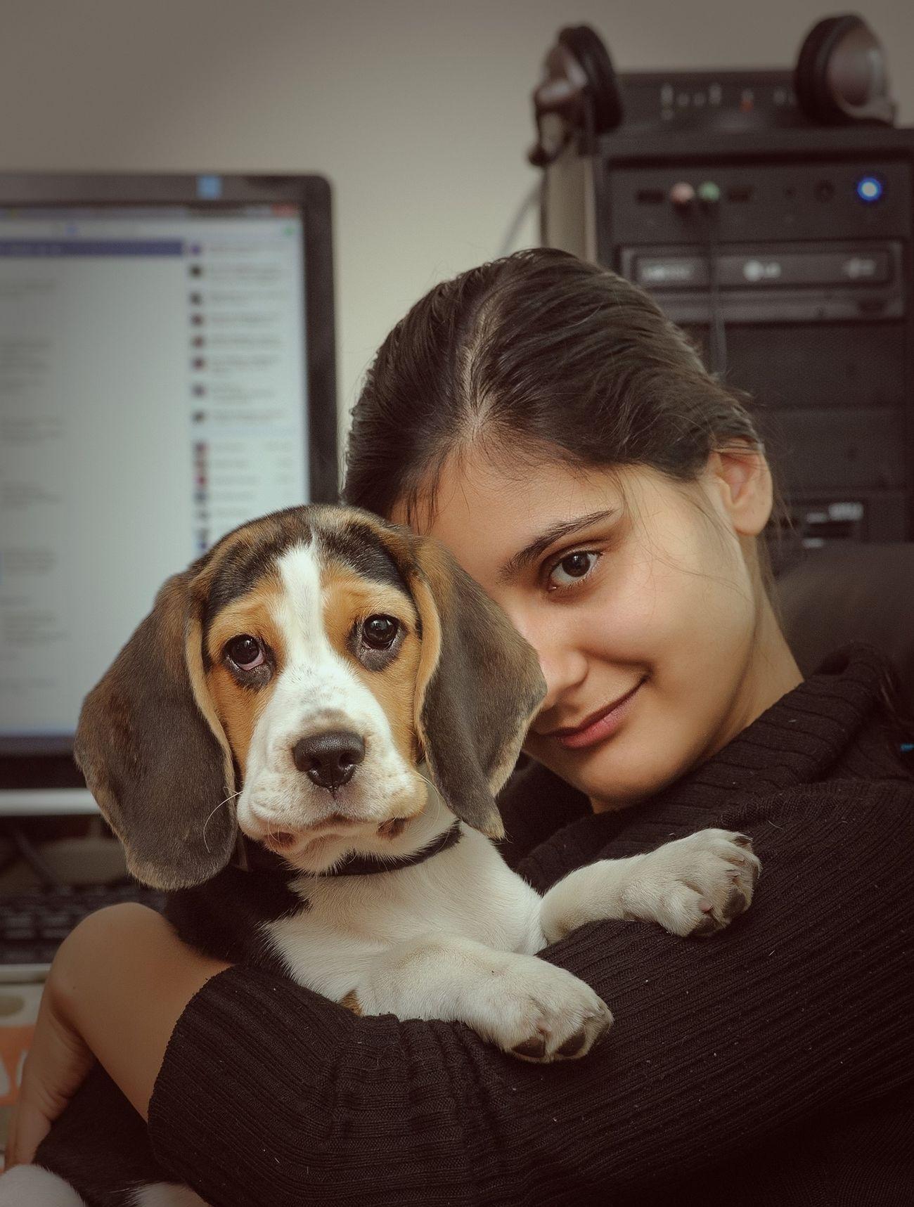 Dog Girlfriend Lovely Portrait