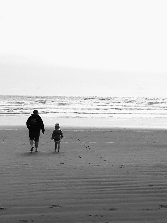 Beach Two People Sand Togetherness Child Sea Full Length Family Bonding Horizon Over Water Blackandwhite Beautiful Taking Photos The Way Forward Life Is A Beach