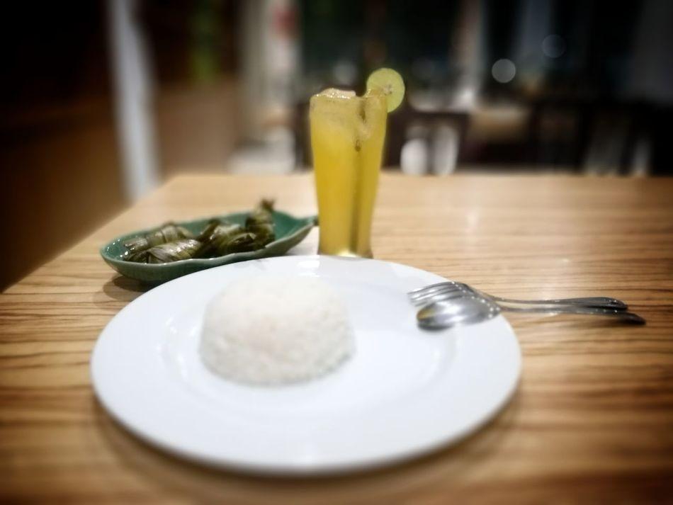Pandan Suci Fresh Orange Juice Rice Fork Spoon Plate