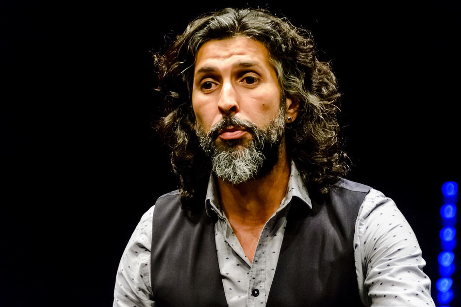Flamenco artist, Arcángel, (Francisco José Arcángel Ramos), during the press presentation before his concert in Madrid, summer 2016. Arcangel Black Background Editorial  Expression Flamenco Front View Human Face Music Person Portrait