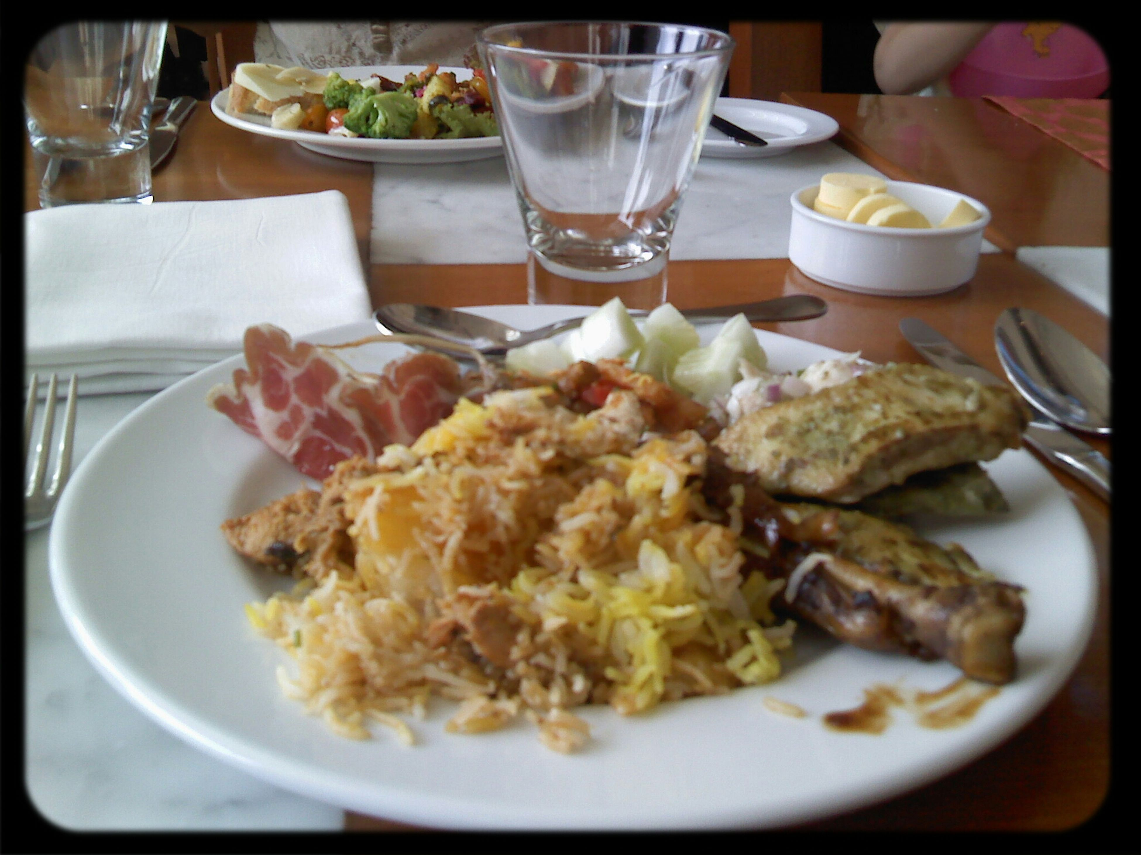 food and drink, indoors, table, plate, food, freshness, ready-to-eat, drink, meal, serving size, still life, drinking glass, healthy eating, close-up, served, restaurant, refreshment, fork, no people, salad