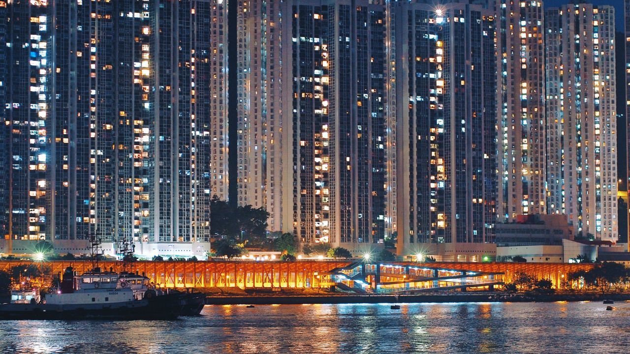 Illuminated Waterfront Architecture Building Exterior Connection Cityscape City Life Built Structure Night Housing Development Housing Estate High Density Housing Discoverhongkong Hk Discovery Channel