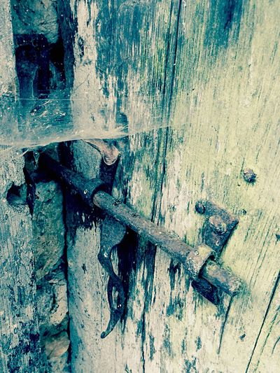 Old lock Door Lock Bolt Wood Cobweb Shed