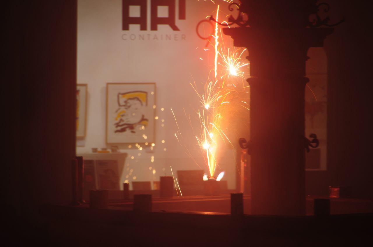 celebration, night, no people, illuminated, firework - man made object, burning, indoors, architecture
