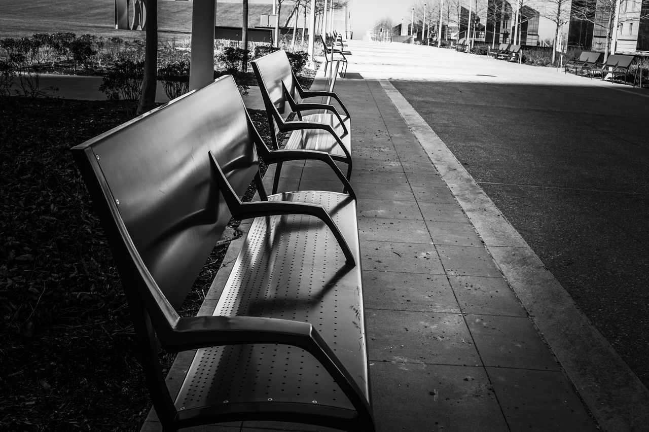Architecture Benches Black Blackandwhite Check This Out Day Empty Eye4photography  EyeEm Best Shots EyeEm Gallery Followme No People Outdoors Photgrapher Photography Sitting Streetphotography Sun
