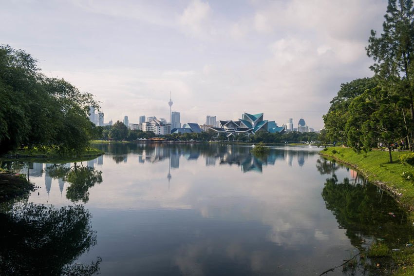 Reflection of Kuala Lumpur at Titiwangsa lake Green KL TOWER Kuala Lumpur Landscape_Collection Reflection Sky And Clouds Water Reflections Landscape Mountain Photography Reflections In The Water Sky Skyscraper Travel Destinations Water Waterfront