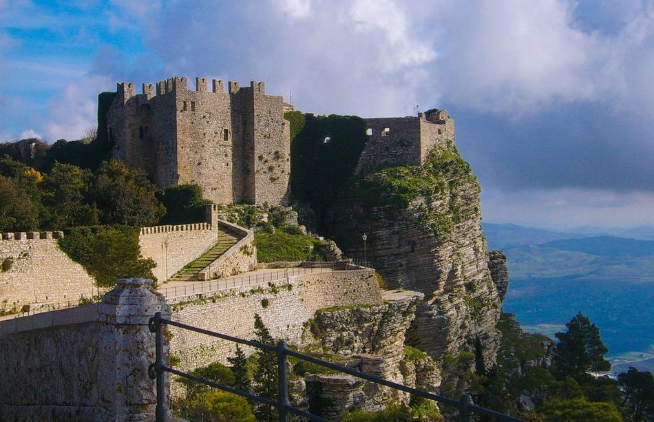 Beauty In Nature Outdoors Scenics Sky Castle Castello Di Venere Erice Landscape Architecture Trapani Backgrounds Landscape_Collection Panoramic View Built Structure Cloud - Sky Day Green Musk High Viewpoint Panorama Nature_collection Ancient Ancient Castle Sicily Travel