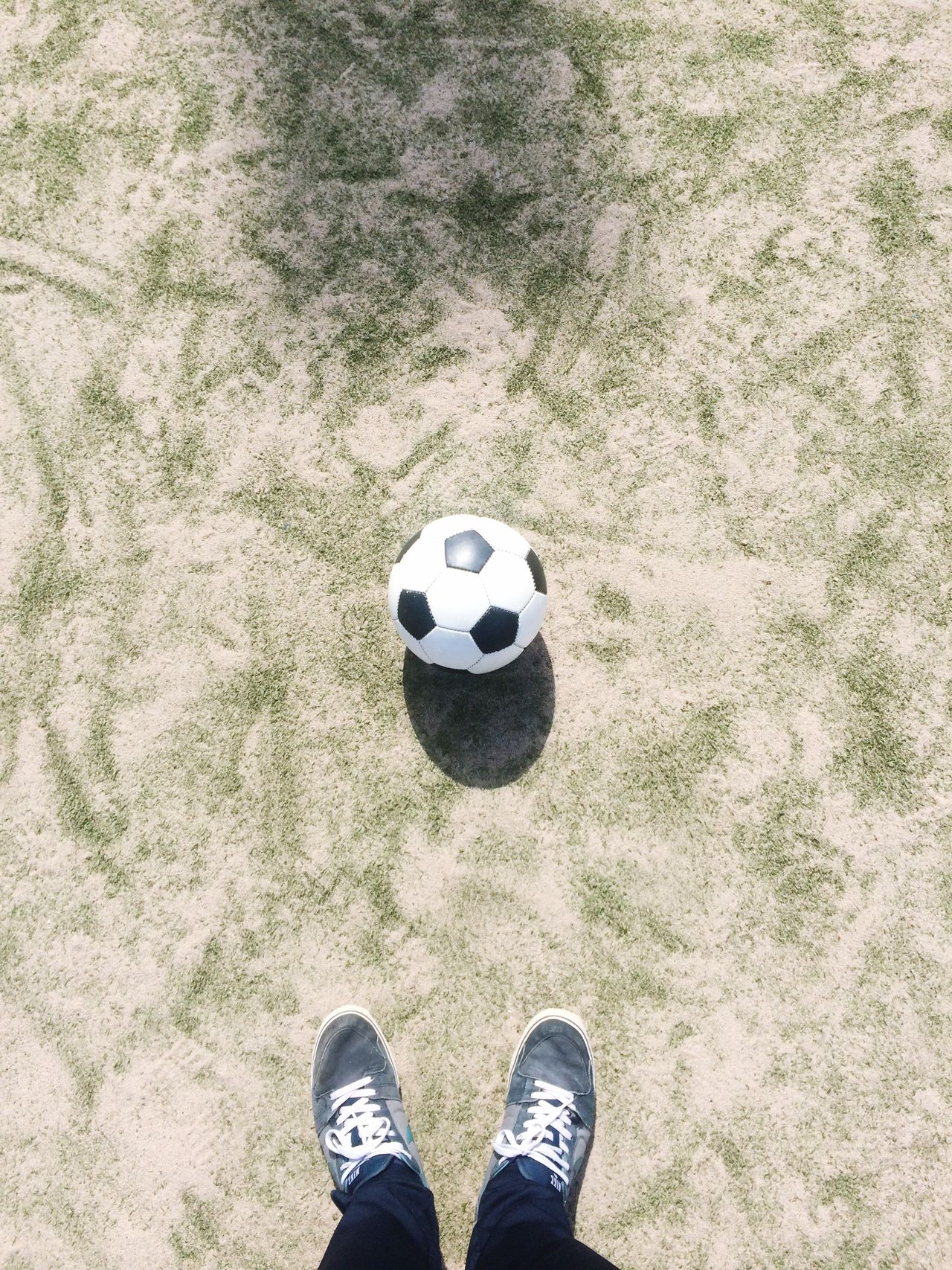 Beautiful stock photos of soccer balls, Canvas Shoe, Day, High Angle View, Human Body Part