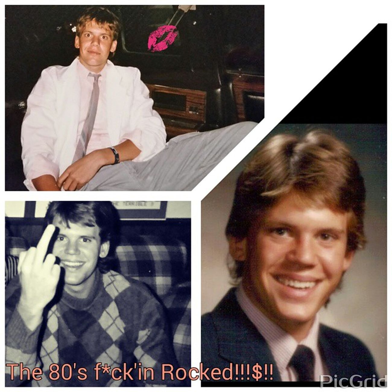 "TBT  throw back Thursday. ...Top pic in a limo, Denver,,, CO 85'(in my Miami Vice suit!!!!?!) Hahaaa...Rt side pic,,,,grad pic 86'....left side pic @ a party 89' .....The 80's Rocked,,,what more can be said!!!?! ""If you want something you've never had,,, then you've got to do something you've never done!!!?!"".... ""With the right attitude anything is possible!!!$!!"" Party TBT  80s NoGutsNoGlory Cutfromadifferentcloth Nextadventure Challengesrlearningtools Rockon Offthehook"