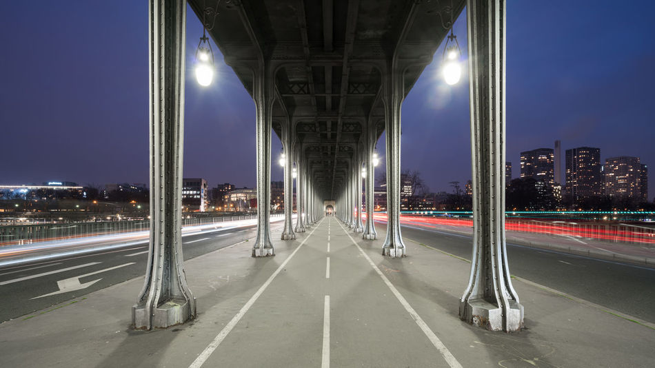 Inception Point Architecture Bridge - Man Made Structure Built Structure Capital Cities  City Europe Film Set France French Illuminated Inception Inception Bridge Light Trail Long Exposure Night No People Outdoors Paris Perspective Pont Bir Hakeim Road Street Light The Week On Eyem Traffic Transportation Fresh On Market 2016