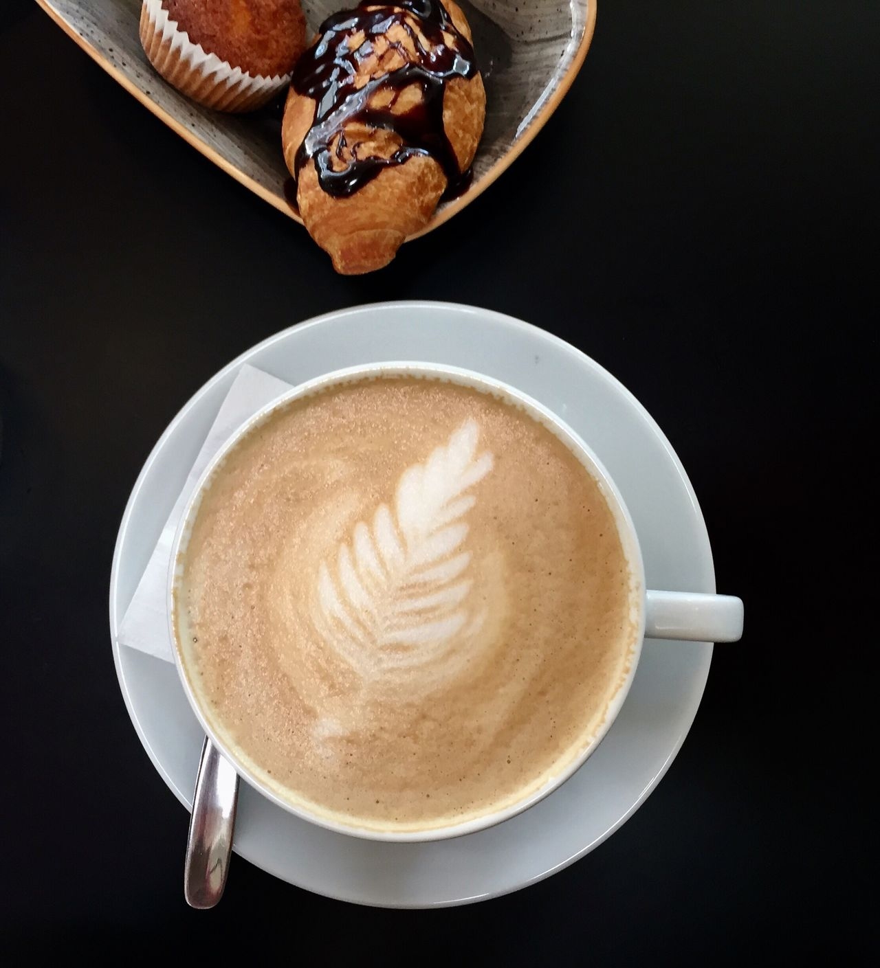 Coffee - Drink Food And Drink Table High Angle View Cappuccino Sweet Food Black Background Day Coffee Cup Freshness