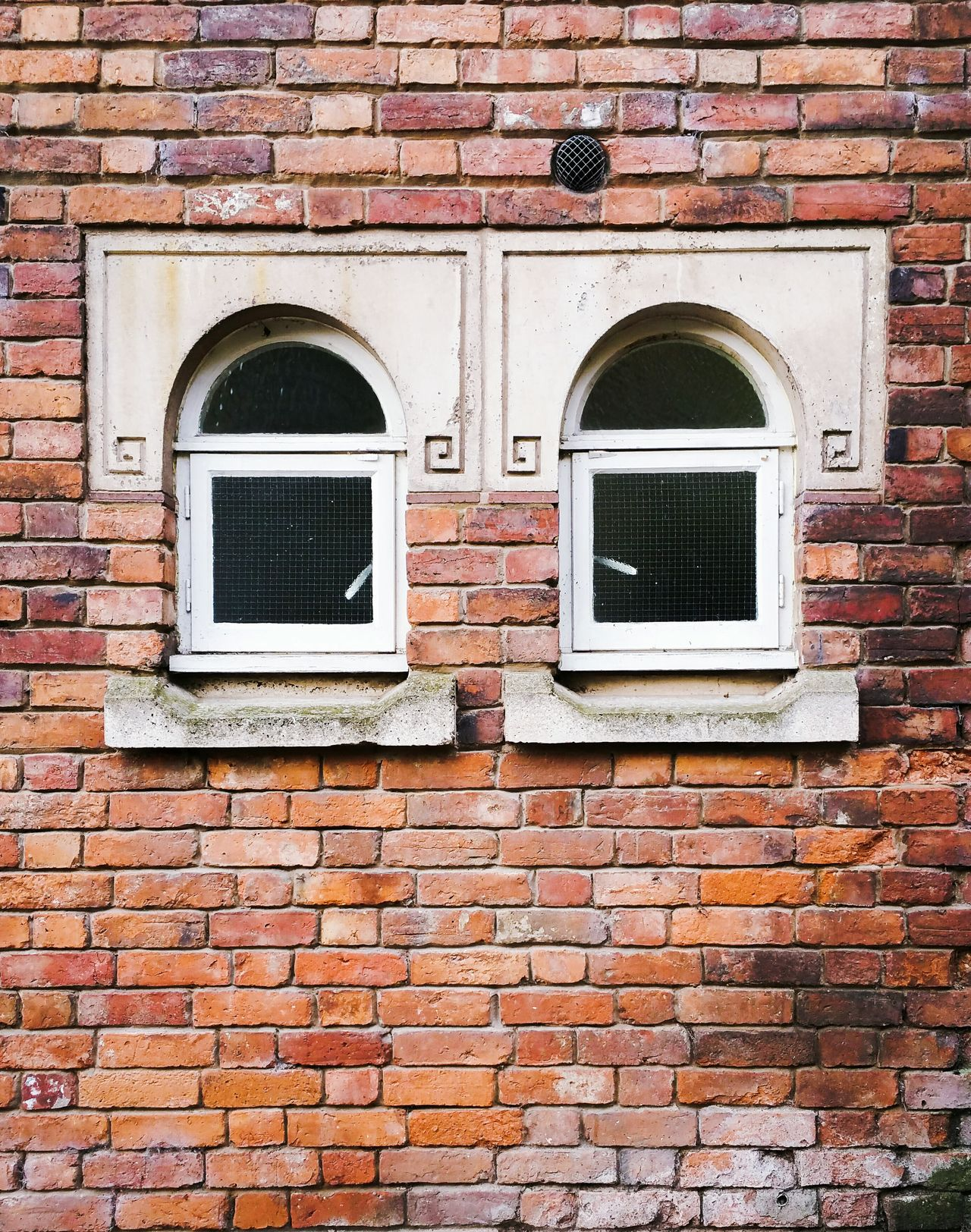 2 Little Windows Brick Wall Building Exterior Architecture Built Structure Outdoors No People Full Frame Day Air Duct Windows Bricks England, UK Britain Red Cute House City Architecture Cityscape Minimalist Architecture Detail