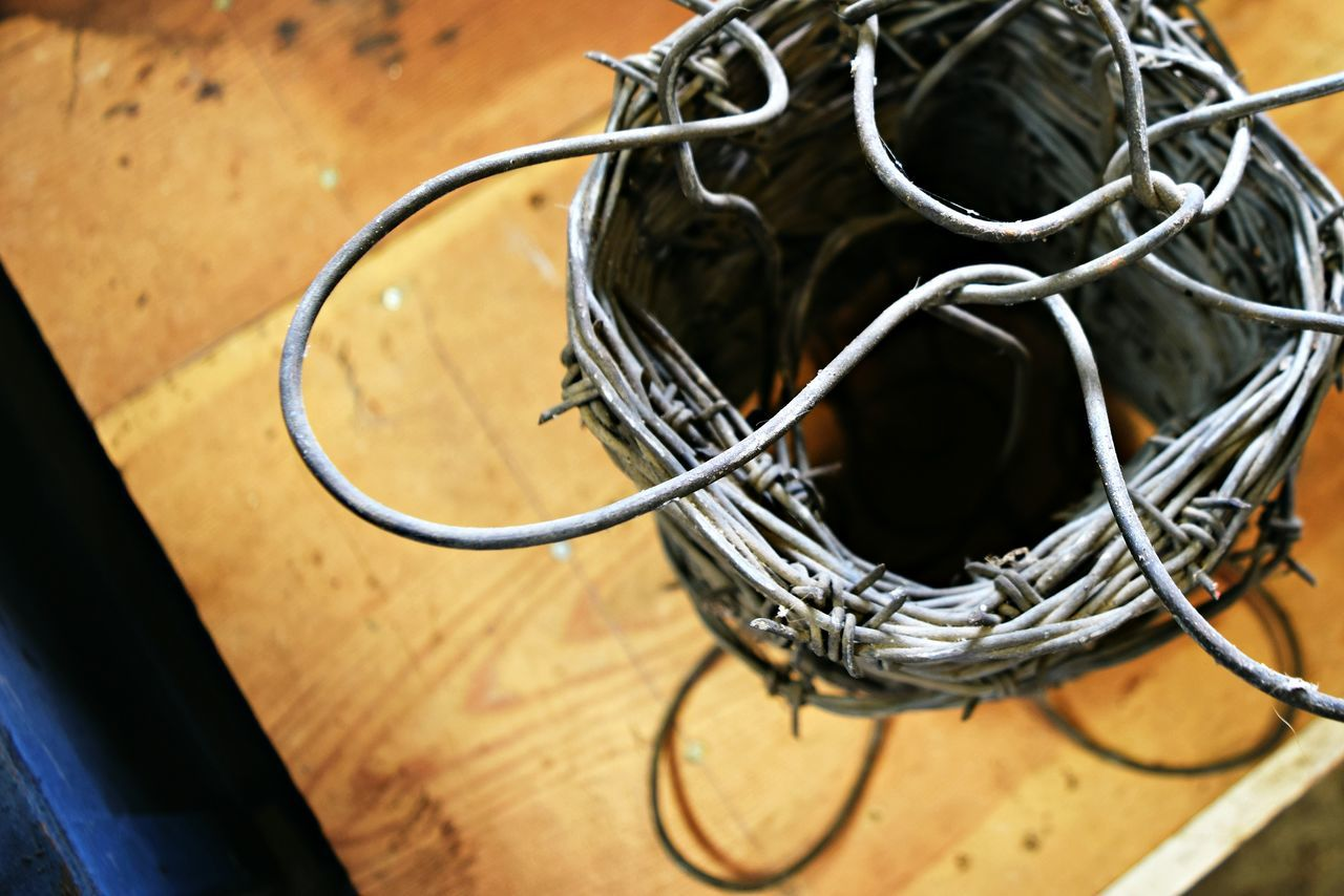 Close-up High Angle View Indoors  Still Life Table No People Barbed Wire Design Abstract Photography Wire Art Simple Photography Selective Focus Construction Materials Raw Material Modestmills