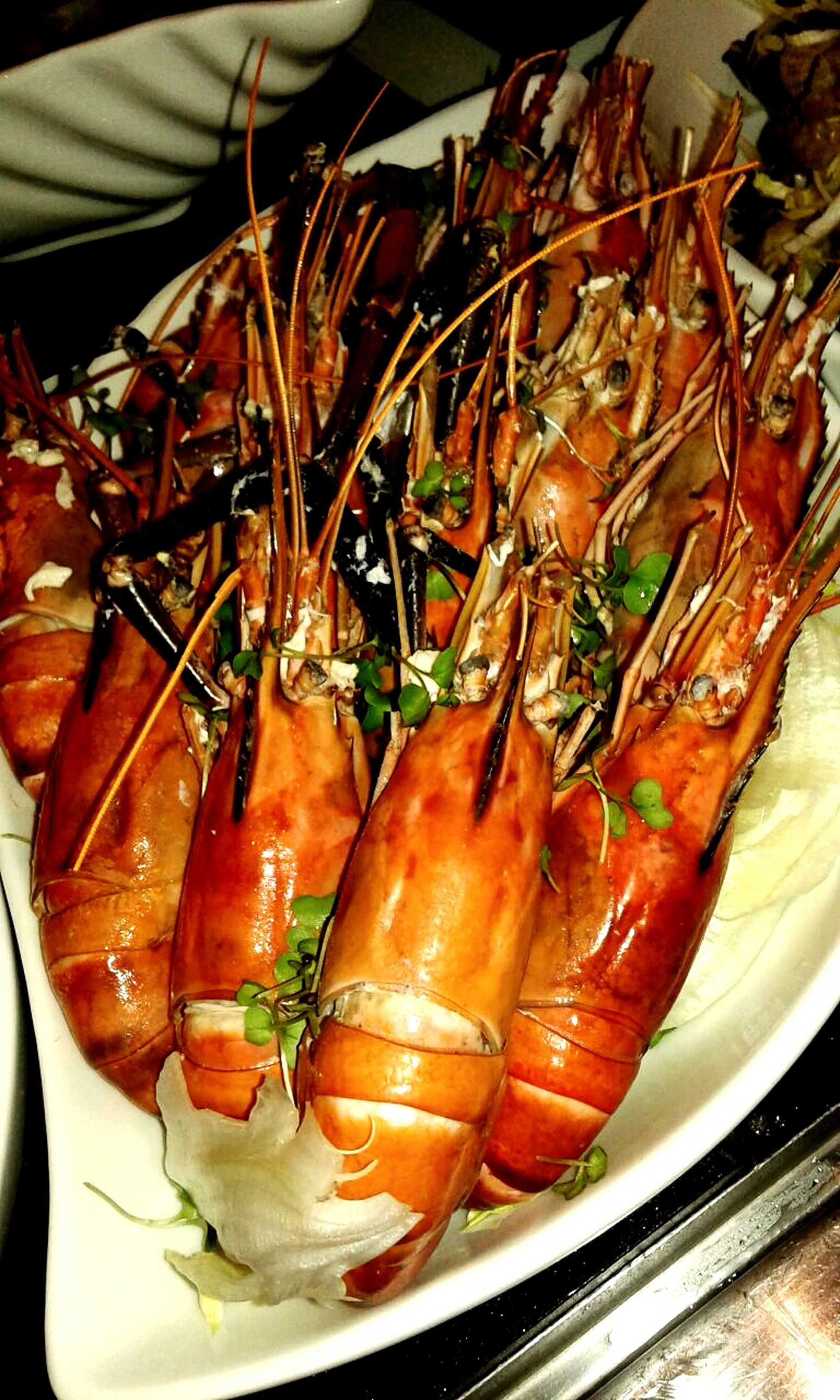 food and drink, food, freshness, indoors, healthy eating, seafood, still life, vegetable, high angle view, plate, ready-to-eat, close-up, meat, meal, table, prawn, fish, shrimp, serving size, indulgence