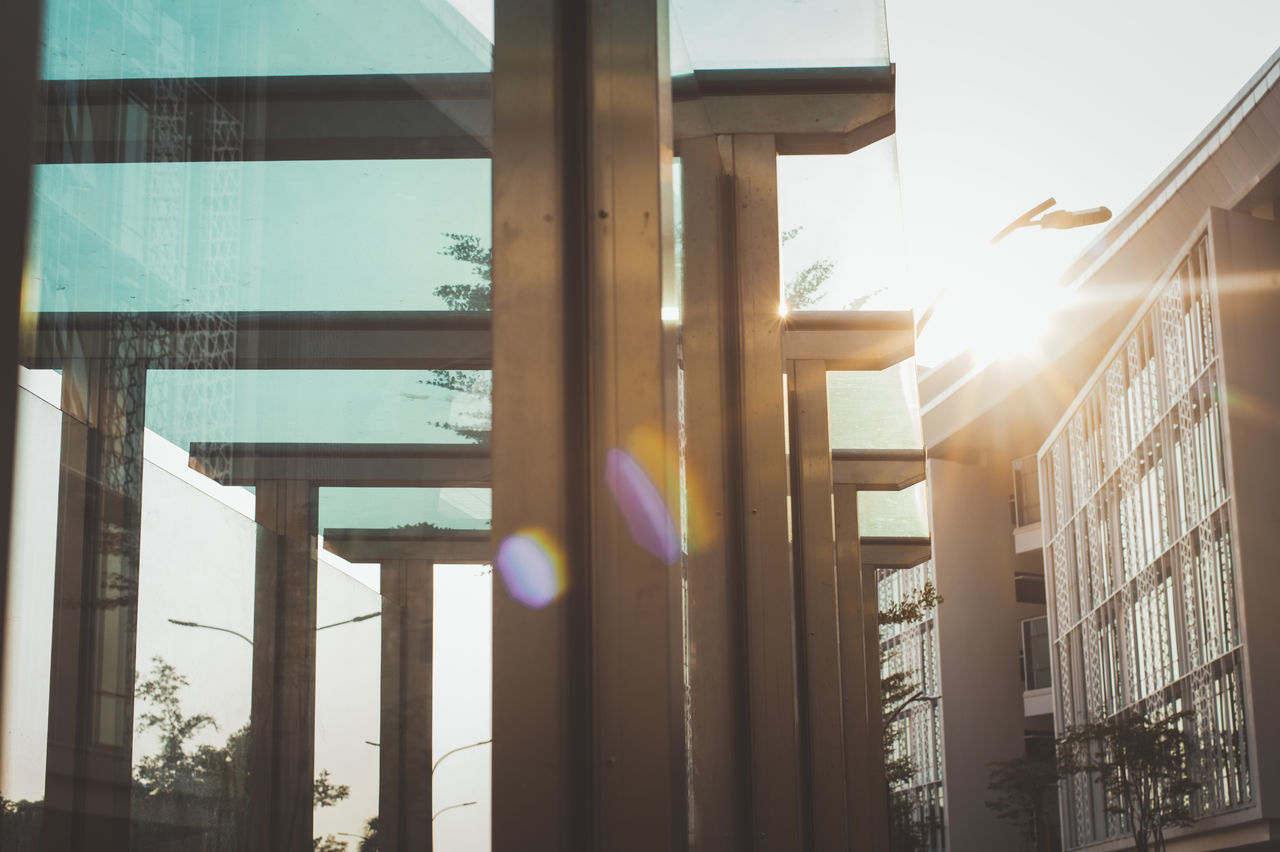 Architecture Back Lit Business Business Finance And Industry Day Lens Flare Modern No People Outdoors Sky Sun Sunbeam Sunlight Sunset Window The City Light