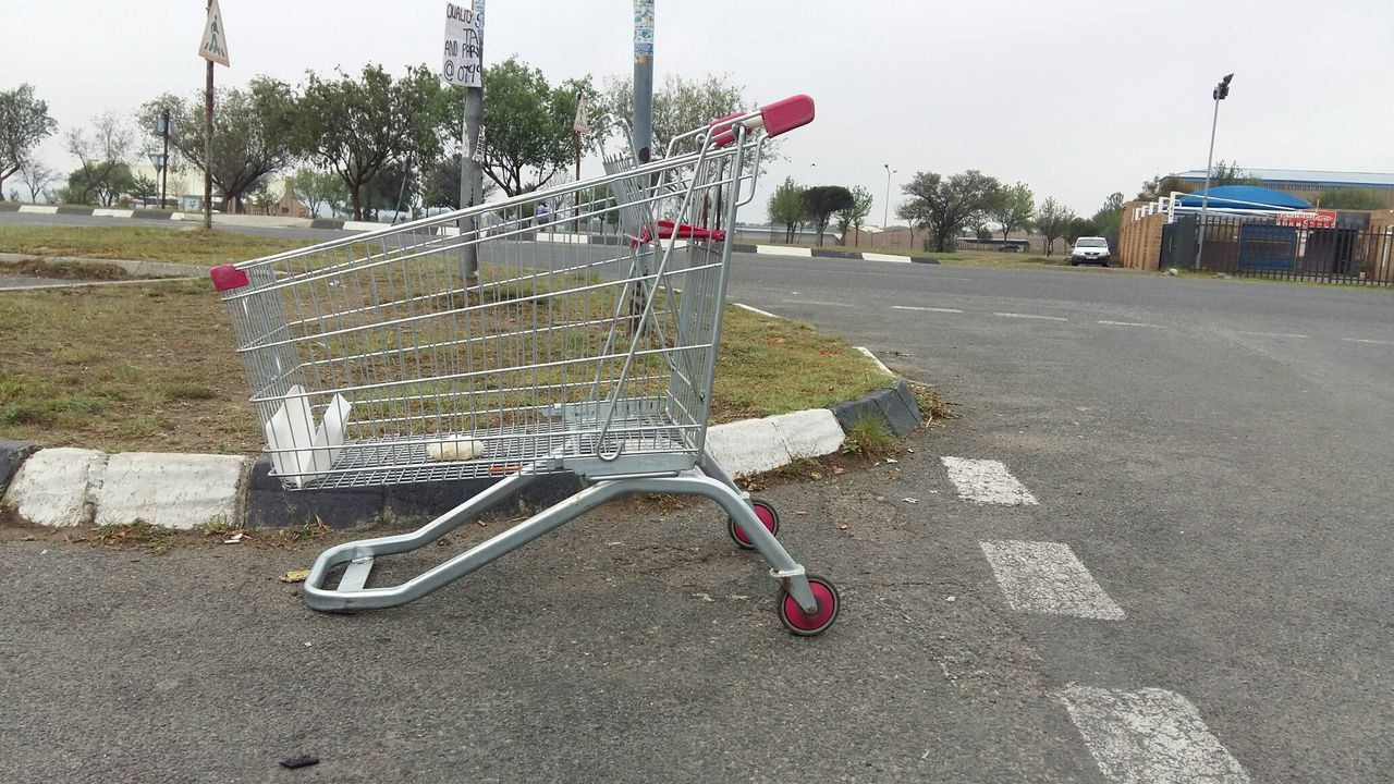 Abandoned Shopping Cart On Road