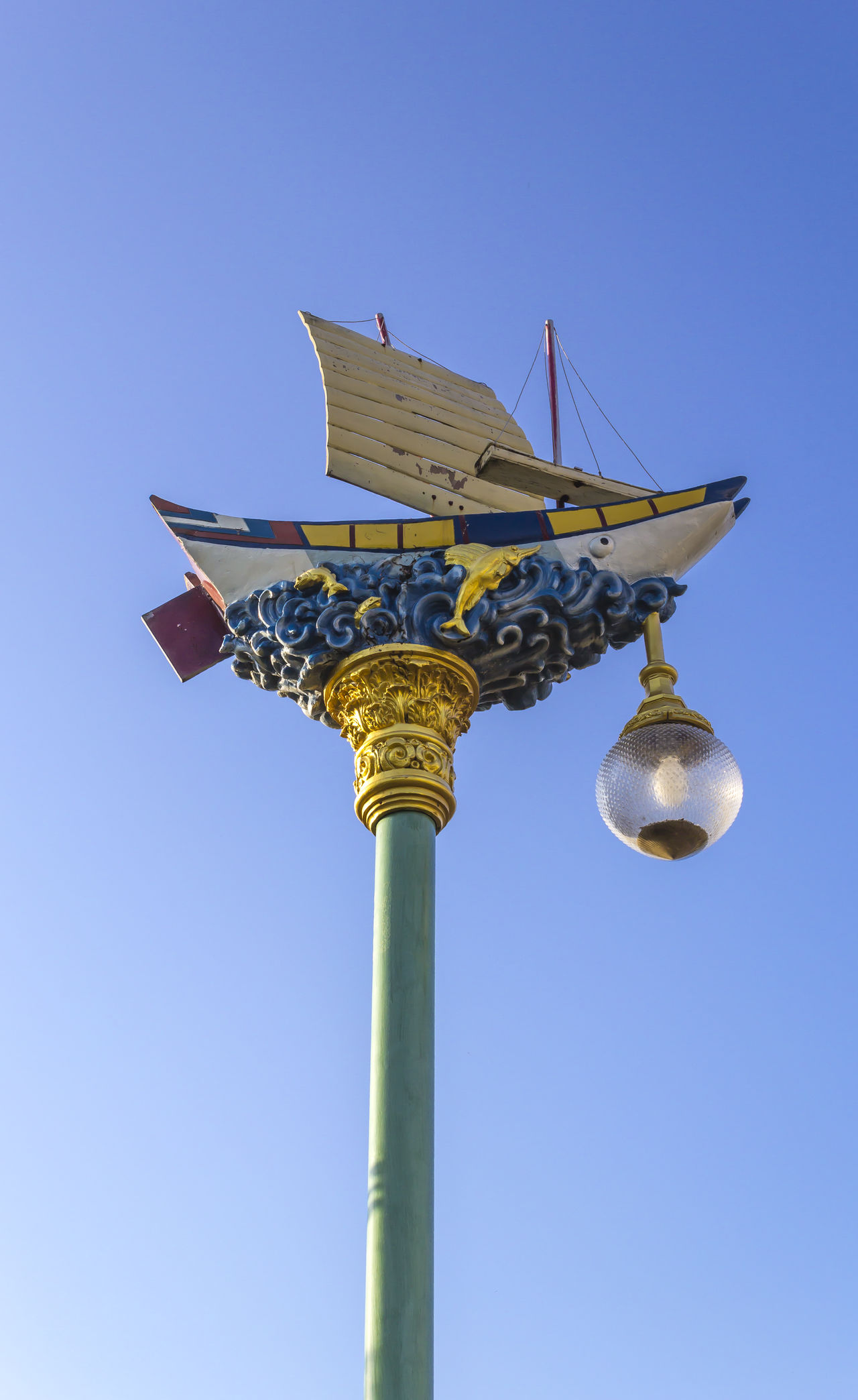 Street light lamp on the blue sky background Ancient Anterns Architecture Boat Bulb Chinese Culture City Day Design Electric Lamp Lamp Lamp Post Light Pole Ship Sky Street Lamp Street Light Urban