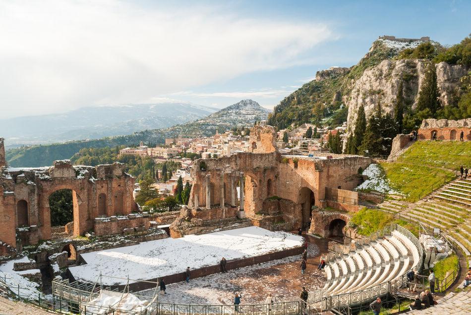 Beautiful stock photos of schnee, Italy, Taormina, Winter, amphitheater