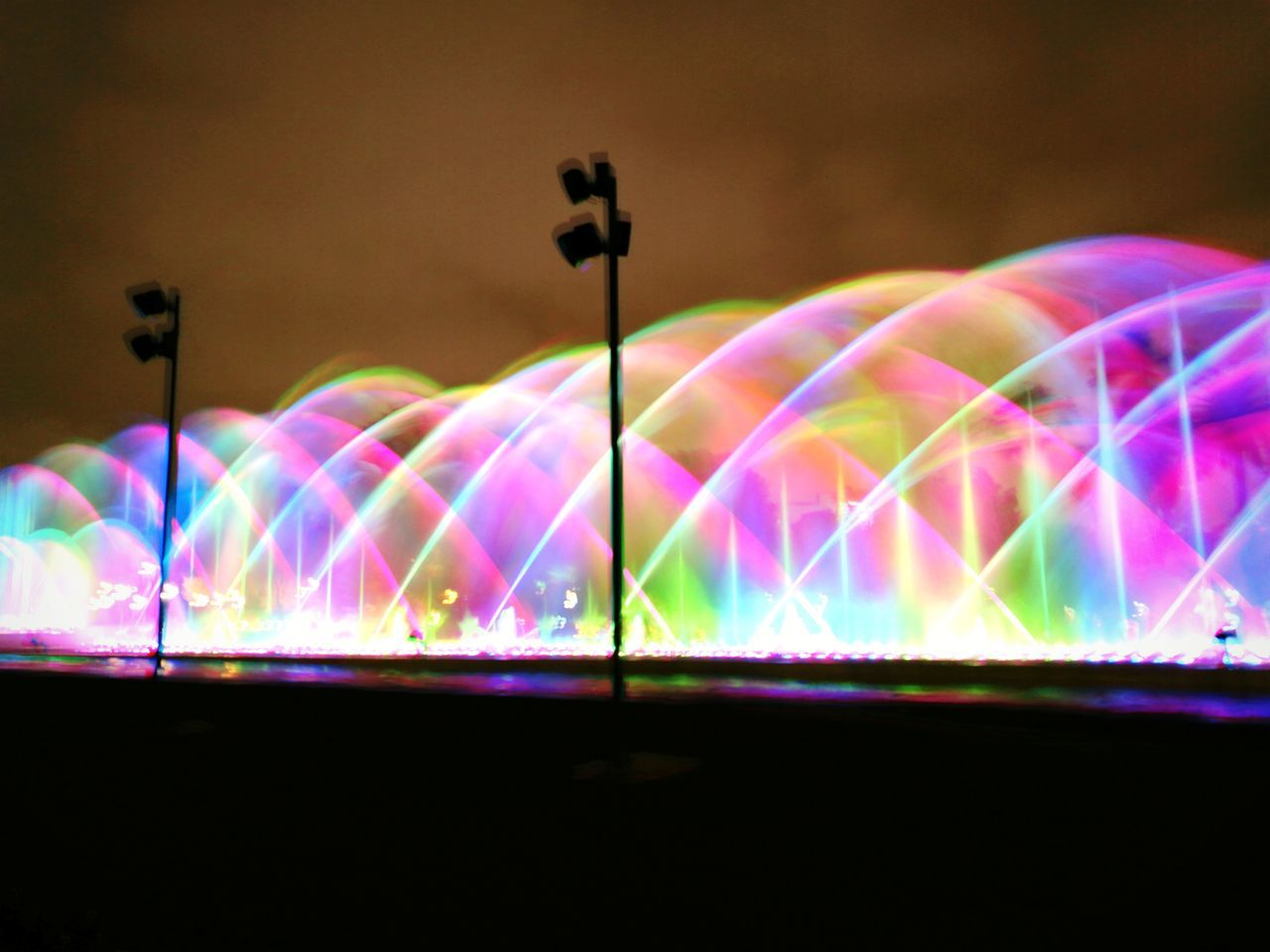 Water show in Lima Multi Colored Illuminated Night Lighting Equipment Light Beam Rainbow Light Trail Long Exposure Outdoors No People Neon Photography Themes Leica Huawei P9 Eye4photography  EyeEm Best Shots Fresh 3 City Water_collection Light In The Darkness Nightphotography Night Lights Night Photography