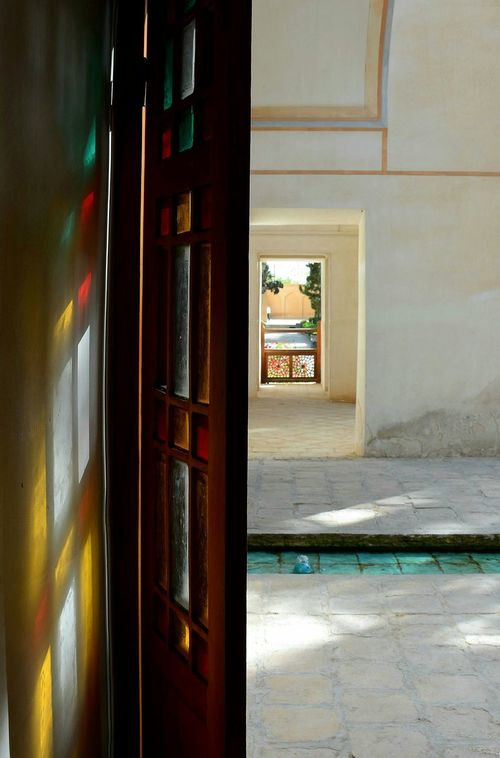 Old House Iranian Garden Old Door Coloured Glas Colourful Nikonphotography The Traveler - 2015 EyeEm Awards New Years Resolutions 2016 Wood Railing Sun Light Kashan Iran