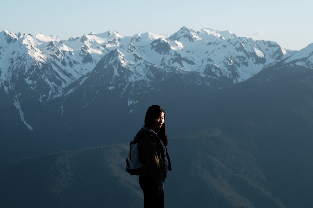 The Hurricane Snow Cold Temperature Mountain One Woman Only Winter Only Women Nature Travel Destinations Beauty In Nature The Great Outdoors - 2017 EyeEm Awards Tranquility Snowcapped Mountain Scenics Outdoors Mountain Range PNW Hurricane Ridge Washington The Portraitist - 2017 EyeEm Awards