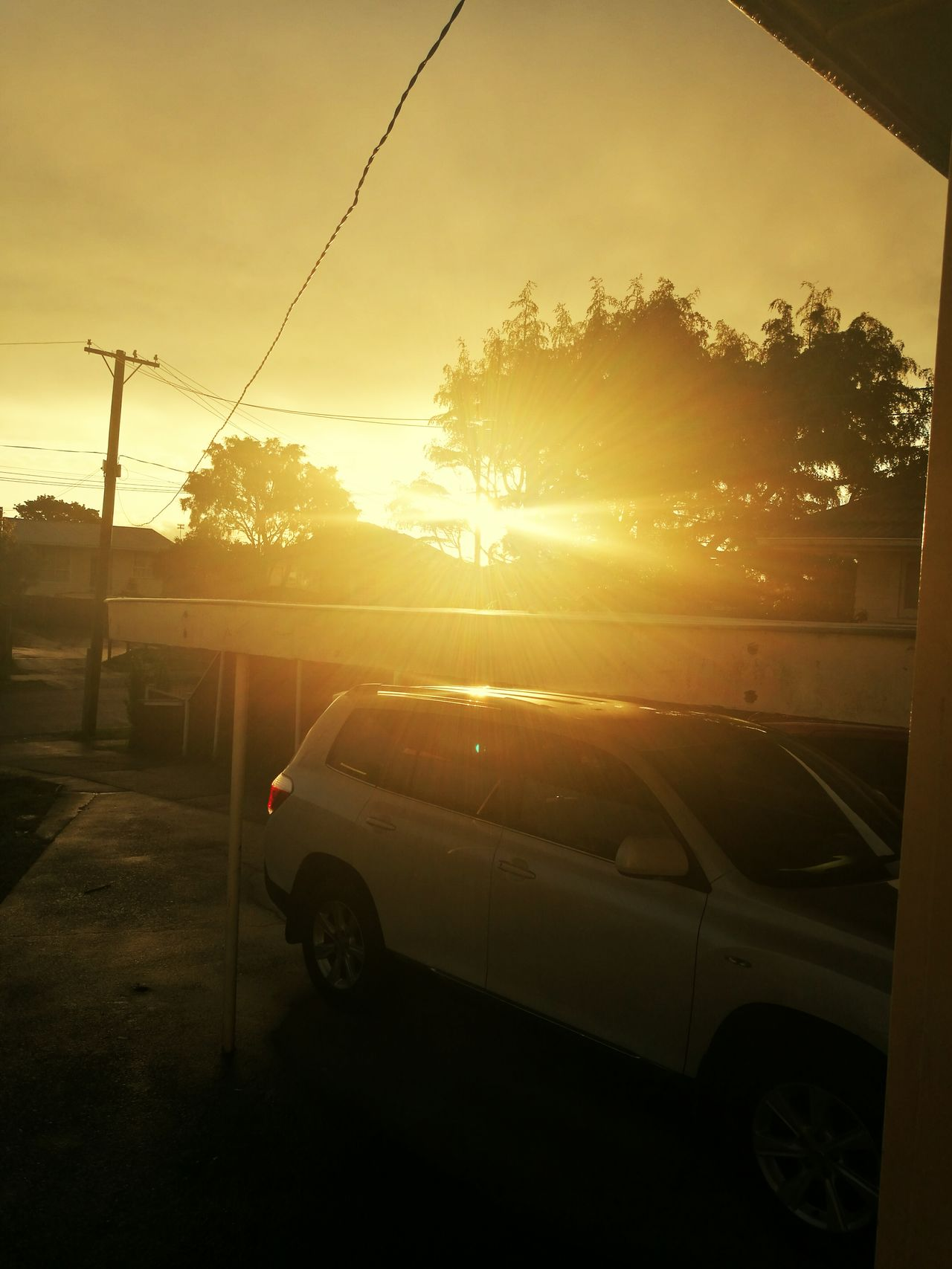 Sunset Lovers Sunset My Frontyard My Dads Car Carport Outdoors Power Lines My Front Door My Point Of View Outside Photography Rainy Days ☔ Auckland, New Zealand Mangere East Auckland Sunlight