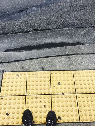 Standing on the nonslip surface Standing Personal Perspective Nonslipgrip Sidewalk Pavement