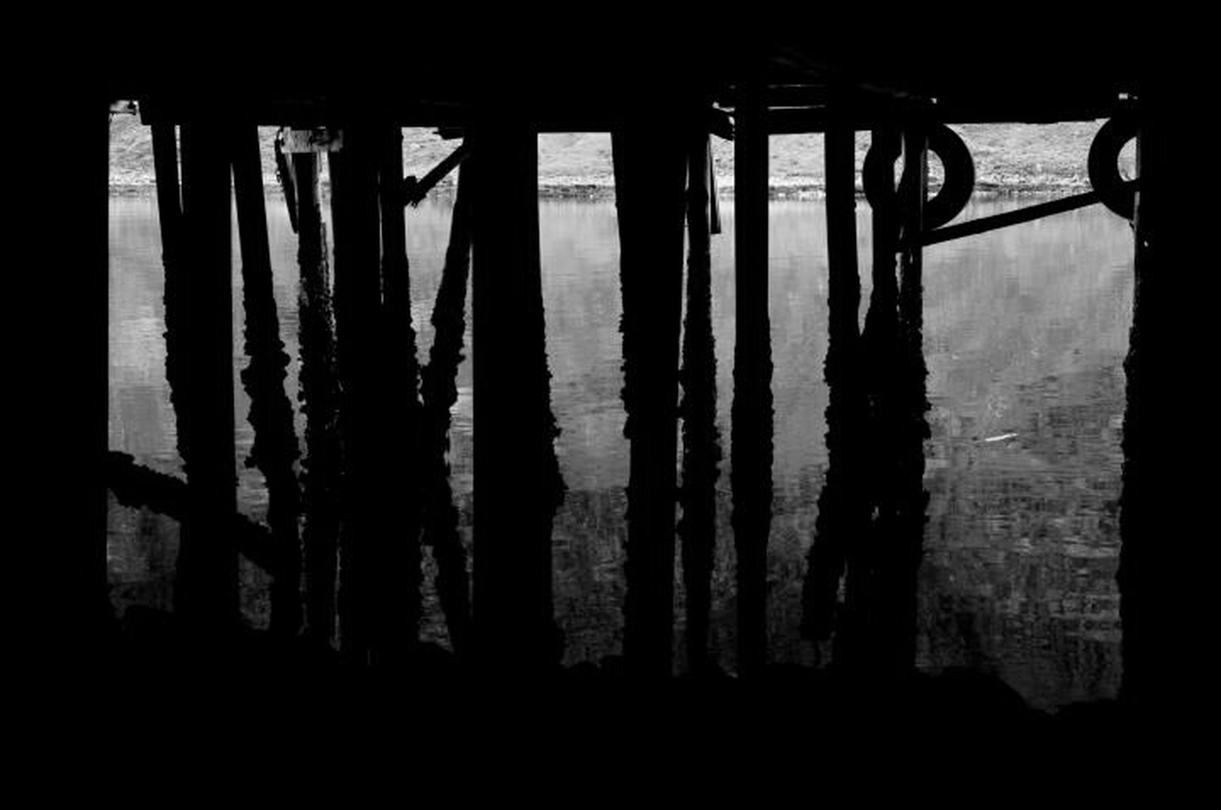 dark, silhouette, indoors, shadow, in a row, night, sunlight, reflection, no people, wood - material, auto post production filter, nature, side by side, water, column, tranquility, built structure, empty
