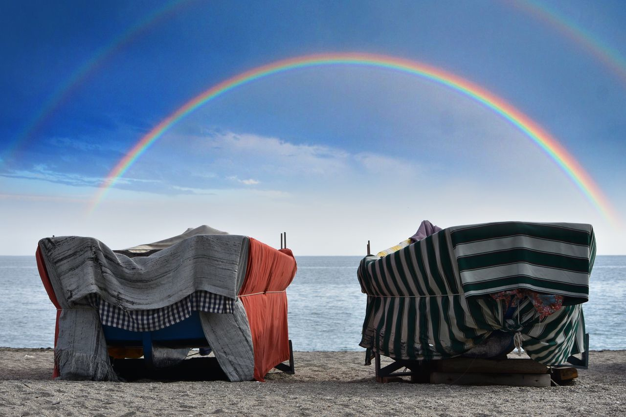 Rainbow Multi Colored Double Rainbow Sky Day Outdoors Nature Scenics No People Beach Beauty In Nature Seaside Boats Horizon Over Water Tranquility Tranquil Scene Let's Do It Chic! EyeEm Best Shots Exceptional Photographs Respect For The Good Taste