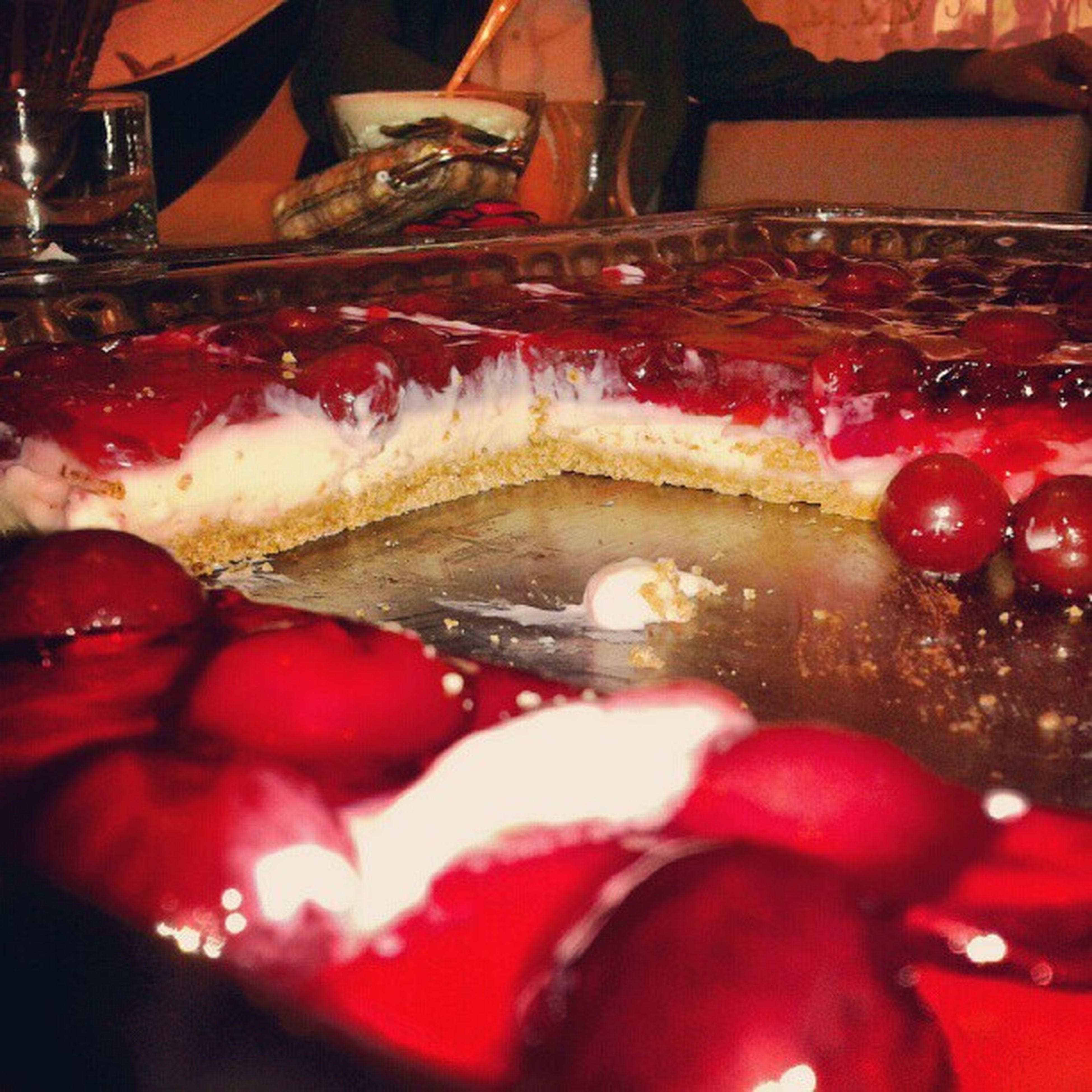 indoors, red, food and drink, close-up, food, freshness, still life, sweet food, selective focus, no people, fruit, indulgence, dessert, focus on foreground, cake, reflection, glass - material, ready-to-eat, cold temperature, christmas