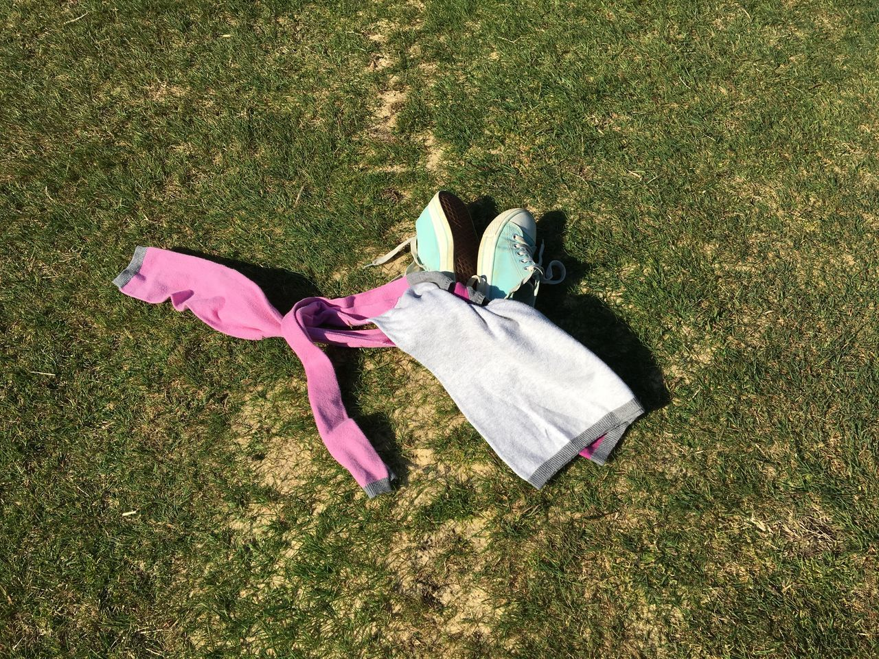 Clothes Day Grass High Angle View Nature No People Outdoors Pair Pink Color