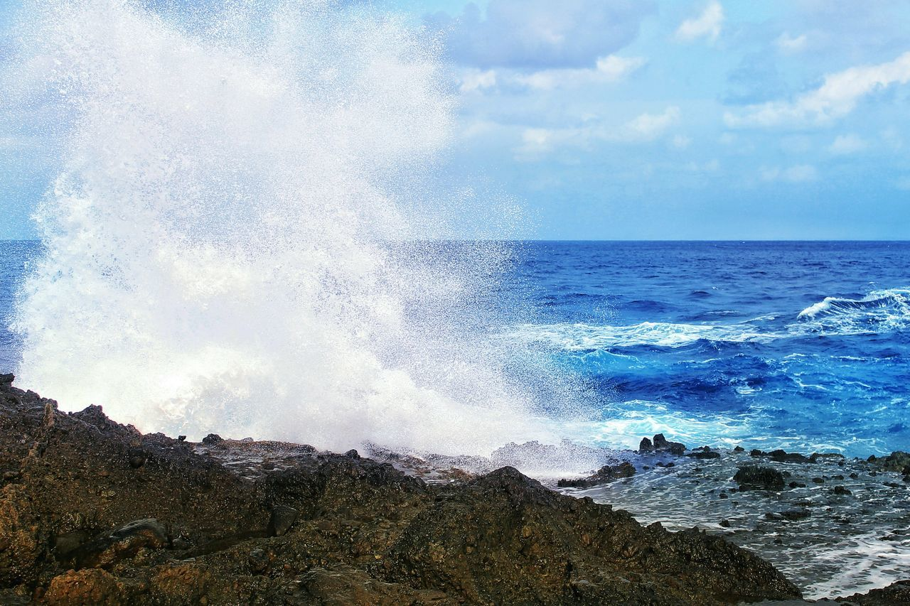 sea, horizon over water, beauty in nature, nature, water, sky, no people, scenics, wave, rough, rock - object, force, power in nature, day, outdoors, motion, blue, crash