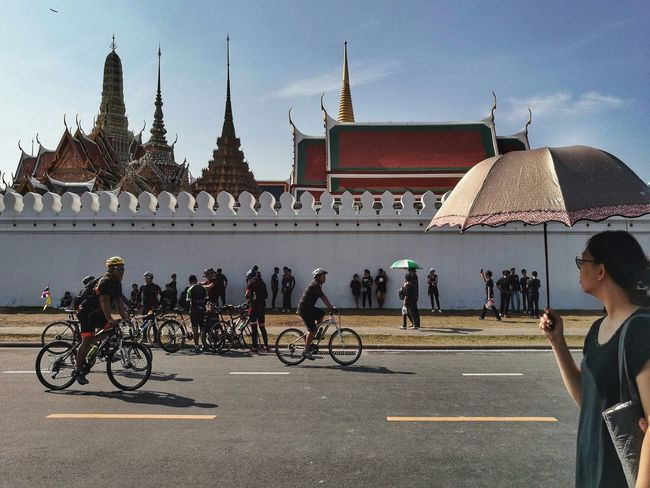 Architecture Building Exterior Travel Destinations Bicycle Built Structure City Sky Outdoors Horizontal People Person Adult Day Thailand Thailand Photos King Of Thailand Grand Palace Bangkok Thailand