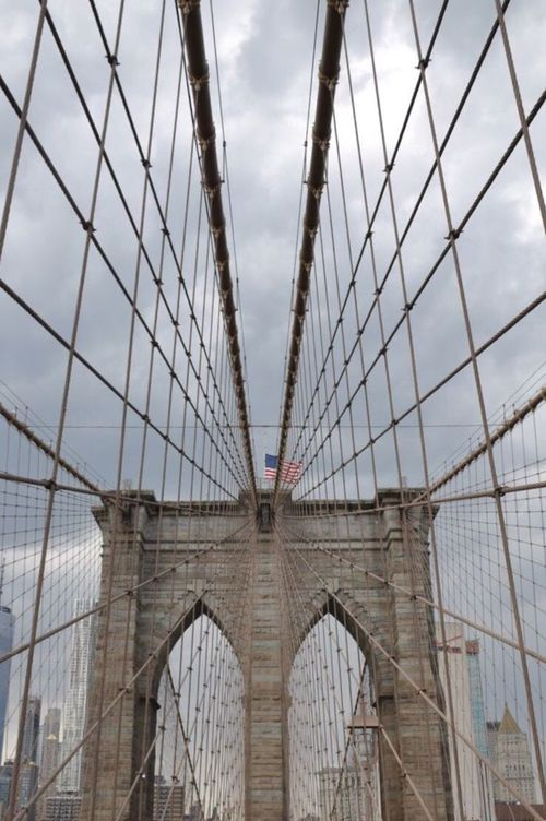 EyeEm Selects Bridge - Man Made Structure Architecture Connection Built Structure Suspension Bridge Sky Low Angle View City Day No People Transportation Outdoors Bridge Building Exterior