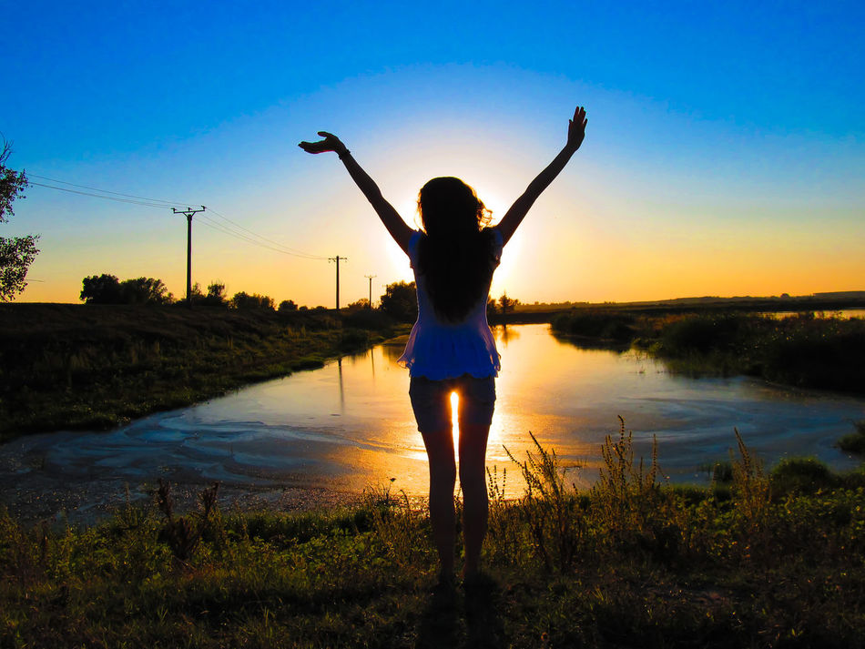 Curly Danube Day Free Freedom Girl Happiness Happiness Human Body Part Lake Nature One Person One Woman Only Outdoors People Rear View Reflection Silhouette Sky Summer Sunset Vacations Water
