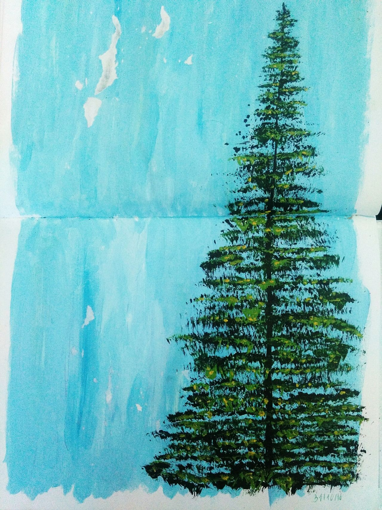 Art Acrylics Tree Nature Sky Painting Green Blue