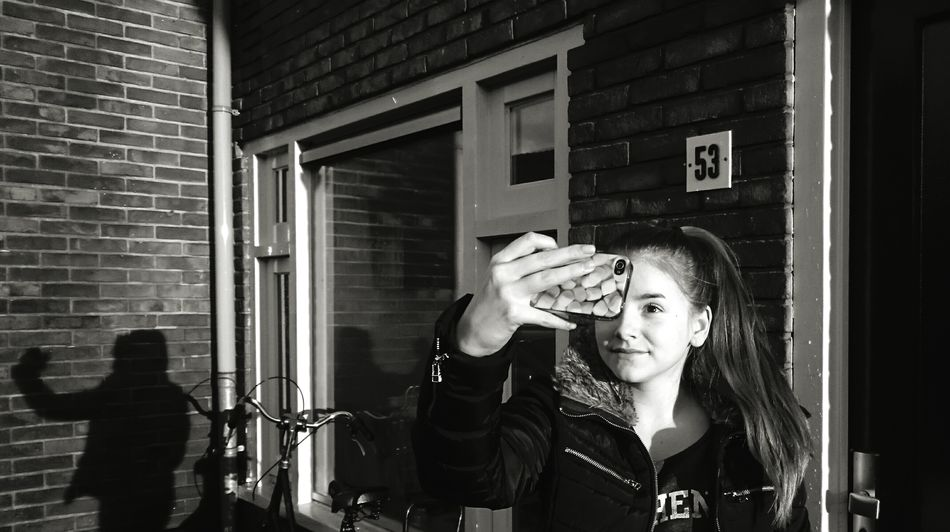 Taking Photos Younggirl Selfie ✌ Sunlight Sunlight And Shadow Mobilephotography Streetphotography Outside Photography ProudOfMyself Makingfun Wall Bricks Window Light And Shadow Blackandwhite Black & White B&w ThatsMe Identity Shadows Showcase: November The Street Photographer - 2016 EyeEm AwardsLookatme Picturing Individuality B&w Street Photography The City Light