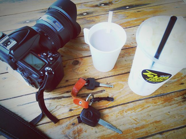 Camera Key Table Wooden Table Hot Cup Cup Hot Milk Cute Vintage Ice Milk Thailand Chon Buri Cafe Drinks