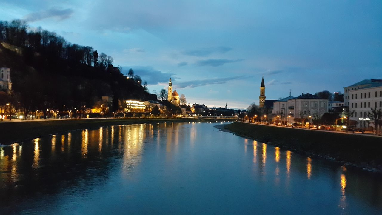 Austria Photos Salzburg On The Bridge Landscape Clouds And Sky Night Lights Night View Cityscapes Architecture Traveling River View Beautiful Cloudpark Samsung Galaxy Note 4 Taking Photos Blue Wave The Purist (no Edit, No Filter) Streamzoofamily 43 Golden Moments