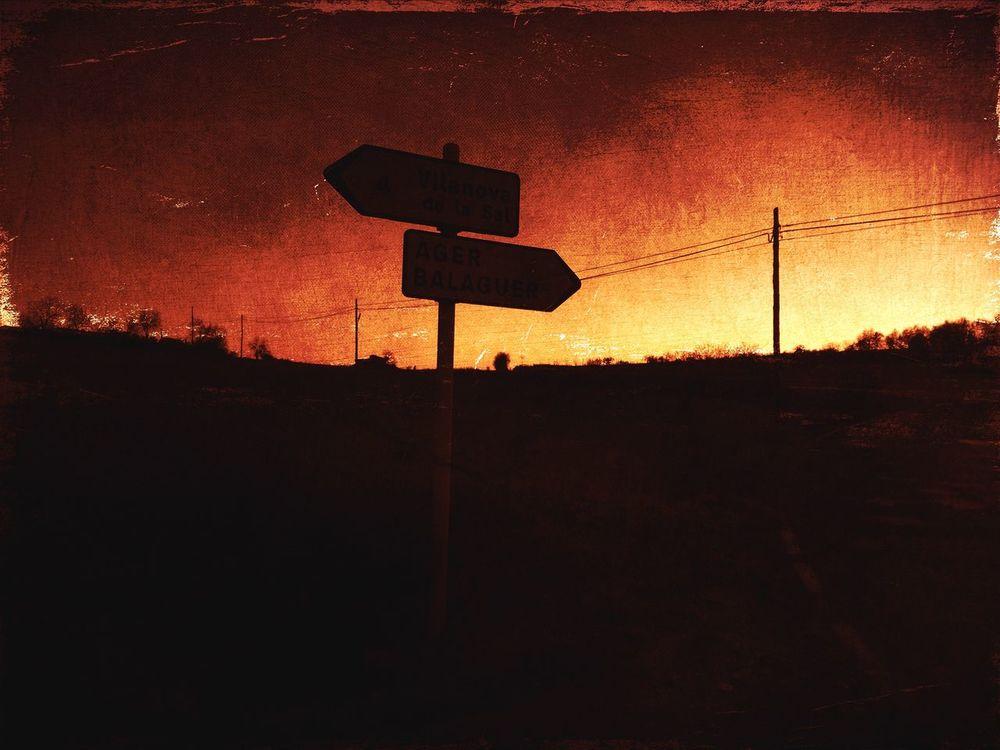 Crossroads Sunset Sunset Silhouettes Landscape Outdoors Catalunya Skyline Tranquil Scene Orange Color Traffic Sign