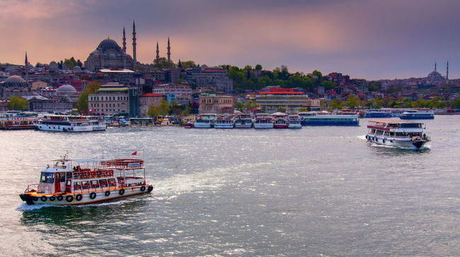 Passenger boat and The Blue Mosque Silhouette in Istanbul Architecture Blue Mosque Yerevan Boat Building Exterior Ferry Istanbul Journey Mode Of Transport Nature Nautical Vessel Orange Color Outdoors Passenger Boat Sailing Sea Ship Sky Tourism Town Transportation Travel Turkey Water Waterfront