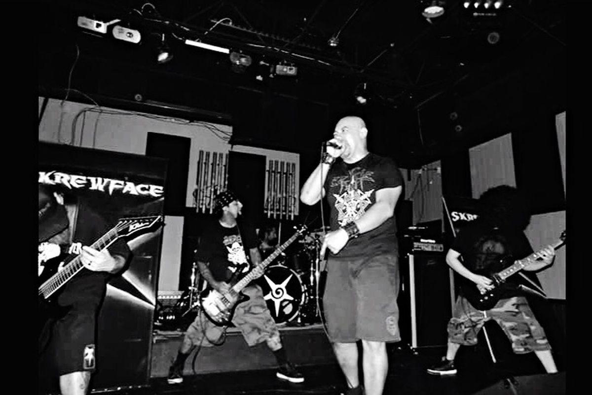Metal Music Band Skrewface Guitarist me Blackandwhite