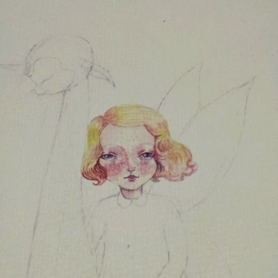 First_color_layer Sketch Illustration Sketching drawing watercolor working on new tiny piece of art drawing_fairy_with_pink_creature NymkaLkh Nymka Lkh © 2014 souls made with love4