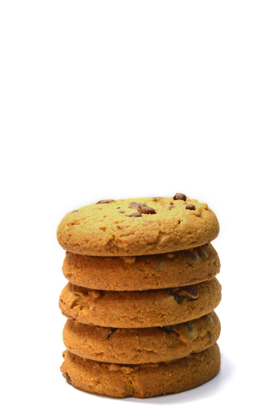 Chocolate chips cookies isolated on white Bake Baked Biscuit Breakfast Brown Calories Close-up Cookies Delicious Dessert Food Food And Drink Fresh Freshness Handmade No People Ready-to-eat Snack Stack Studio Shot Sweet Food Temptation Variation White Background