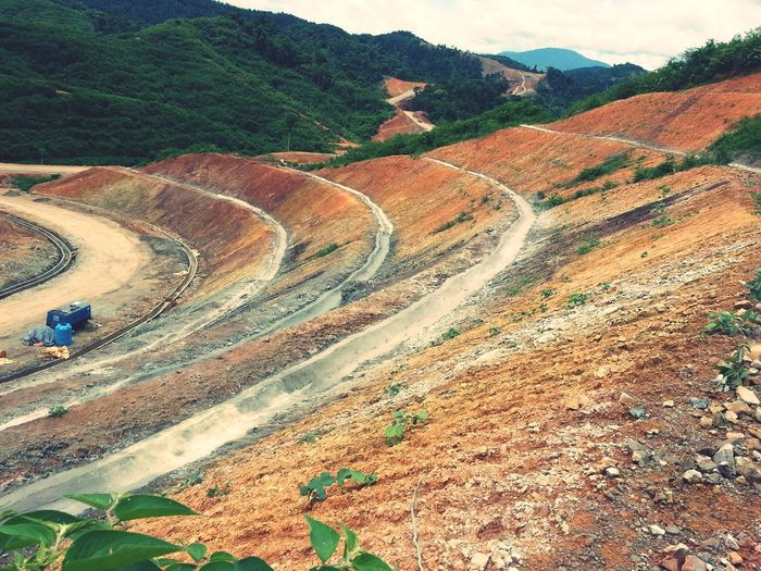 Slope Cutting High Angle View Agriculture Day Outdoors Road Nature No People Mountain Road Construction Berm Drain Turfing Gravel Road No People,