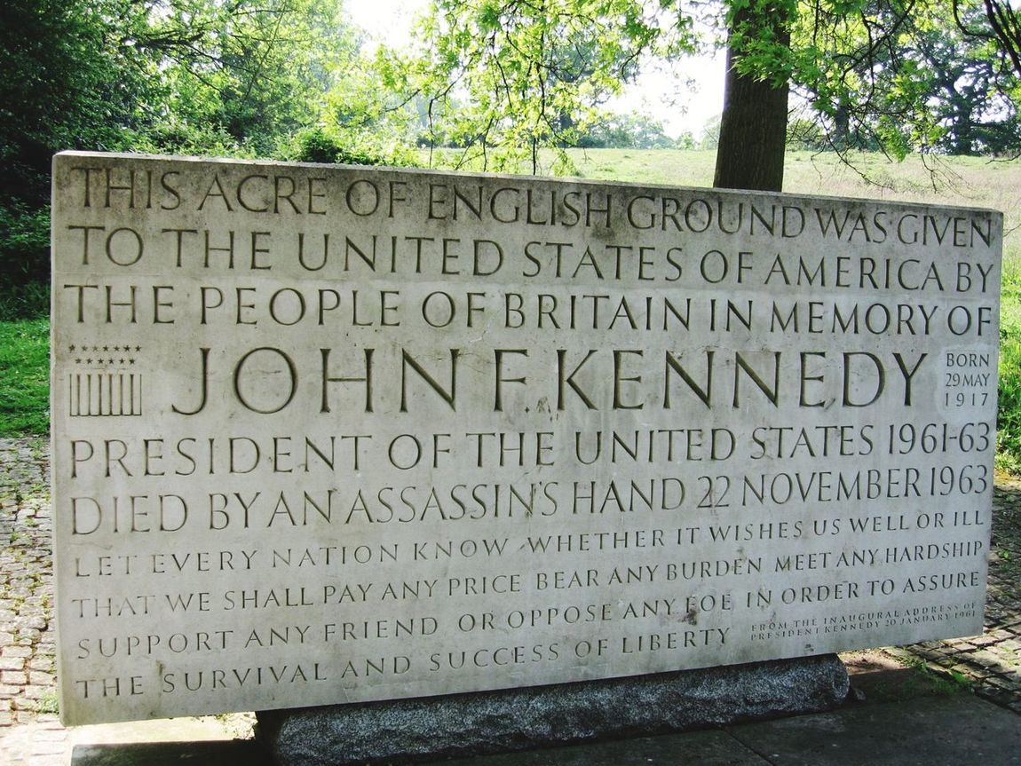 Runnymede Memorial Outdoors Close-up Western Script John F. Kennedy  Message History Text No People
