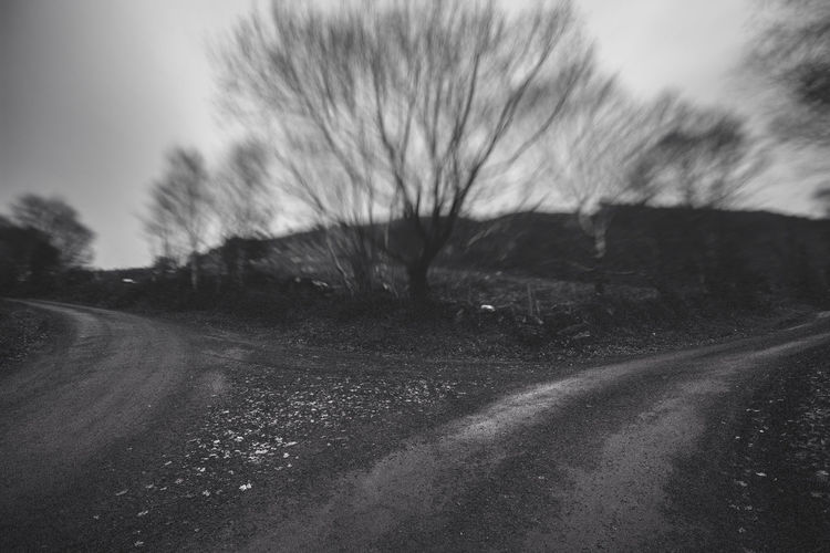 Beauty In Nature Blackandwhite Day Empty Road Ireland Landscape Mountain Road Nature No People Outdoors Road Scenics Separating Sky The Way Forward Tiltshift Tranquility Transportation Tree Westport Ireland