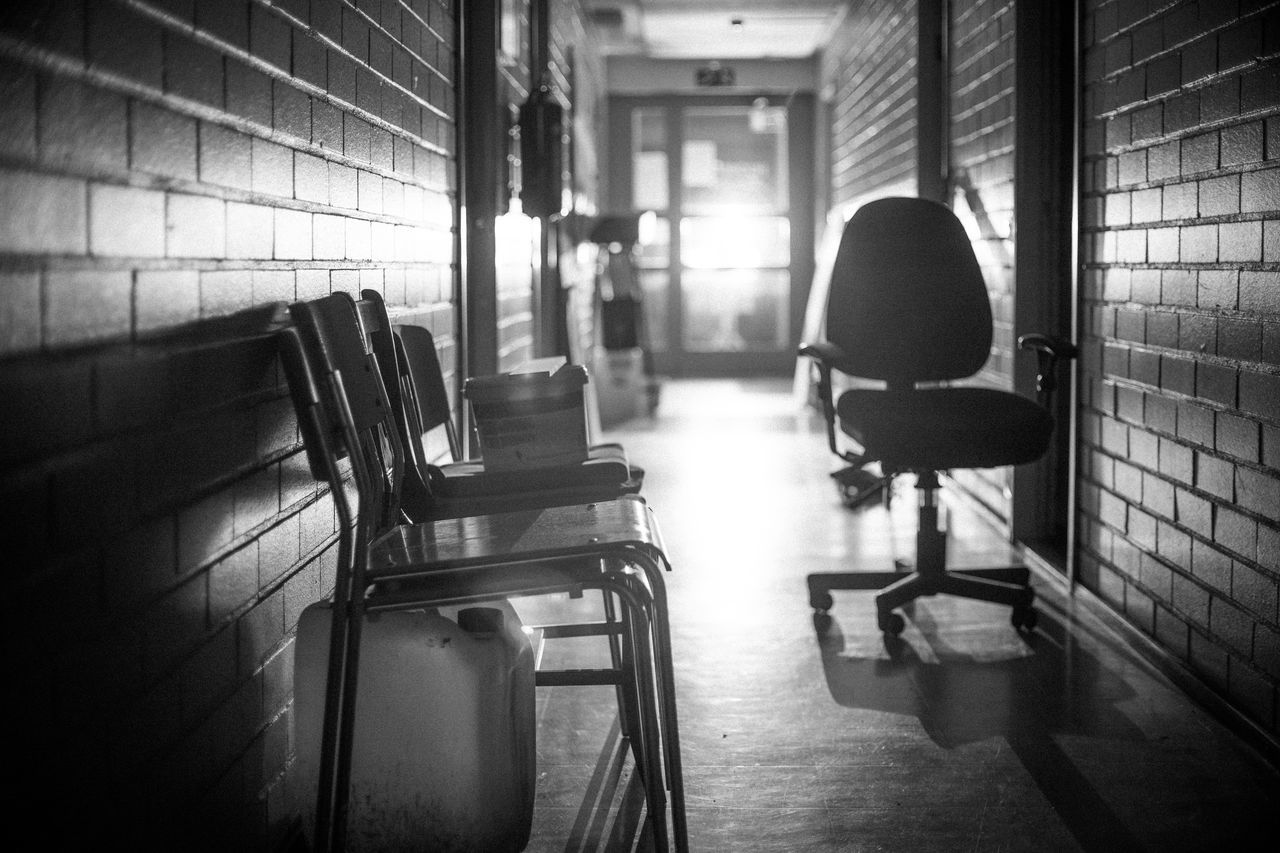chair, indoors, office chair, no people, seat, architecture, day, prison