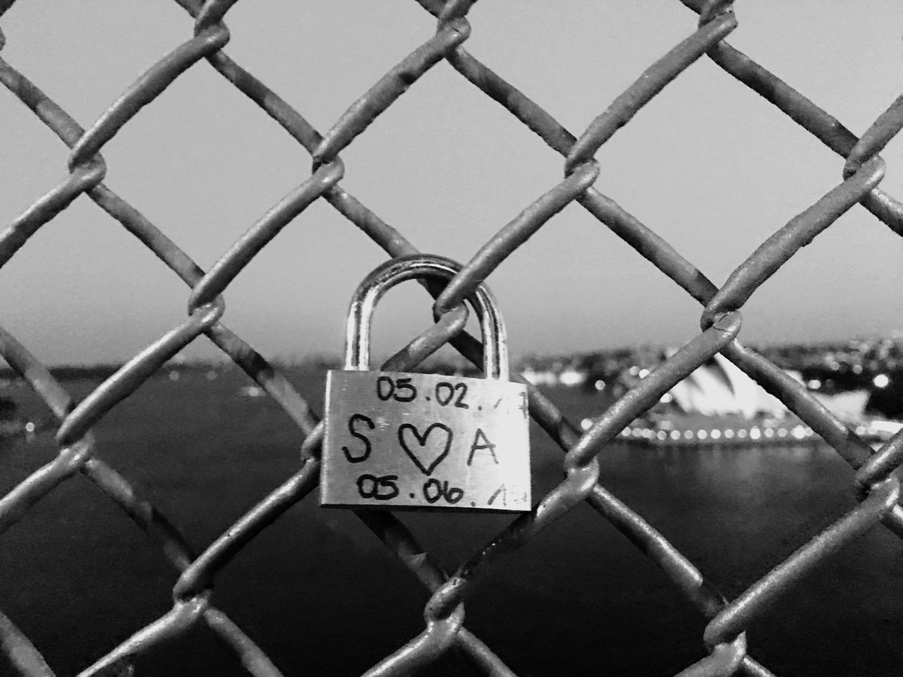 Security Protection Padlock Love Lock Love Safety Lock Metal Fence Railing Hope Chainlink Fence Safe Focus On Foreground Hope - Concept Trust Day Outdoors Belief