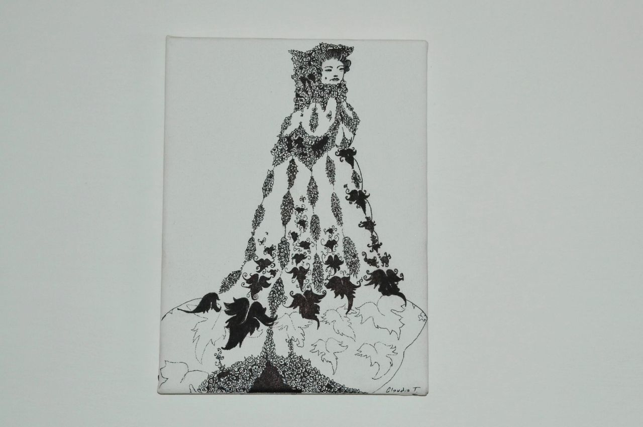 Drawing Canvas Blackandwhite Roses Woman Flowers Gift Painting Illustration